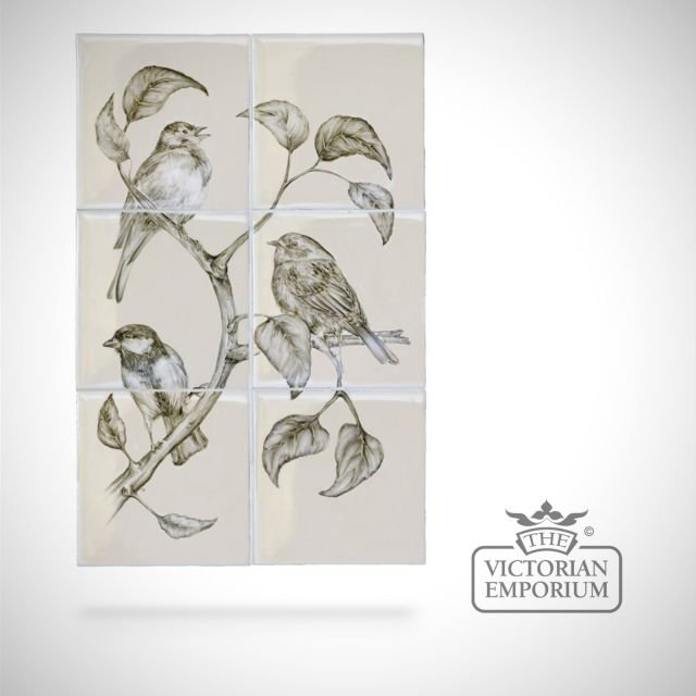 Hand painted 6 tile panel - British Birds 1