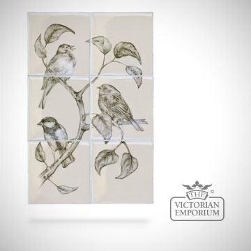 Hand painted 6 tile panel - British Birds 1