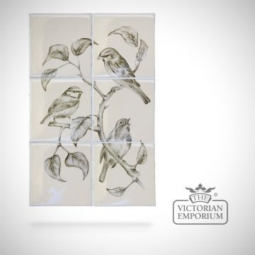 Hand painted 6 tile panel - British Birds 2