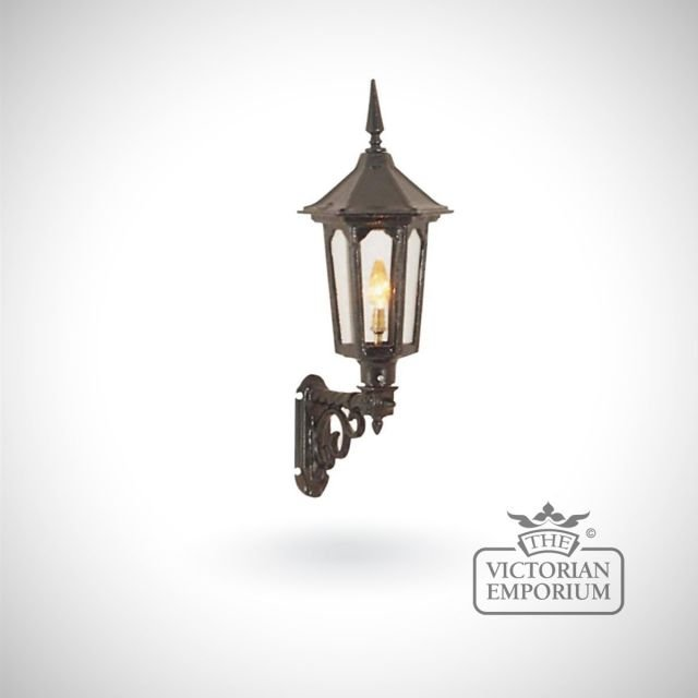 Small cast alloy hexagonal trent wall lantern with cast bracket