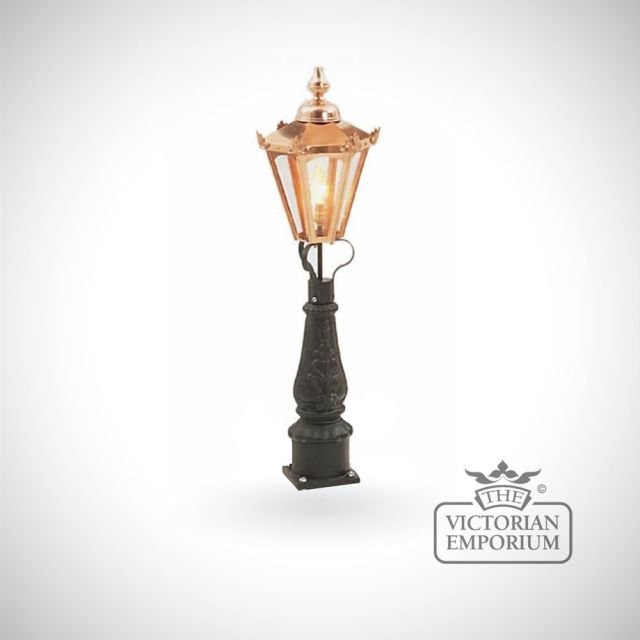 Small hexagonal copper lantern with Pedestal base