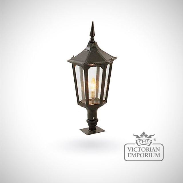 Medium hexagonal trent cast alloy lantern with Wall top base