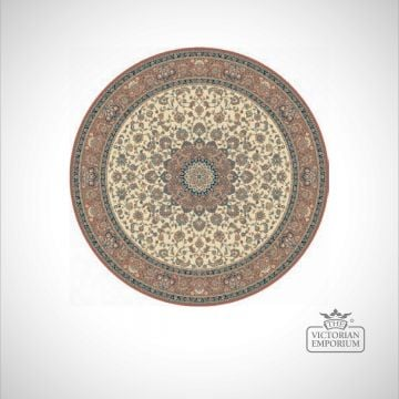 Circular Victorian Rug - style KA12217 Beige/Rose