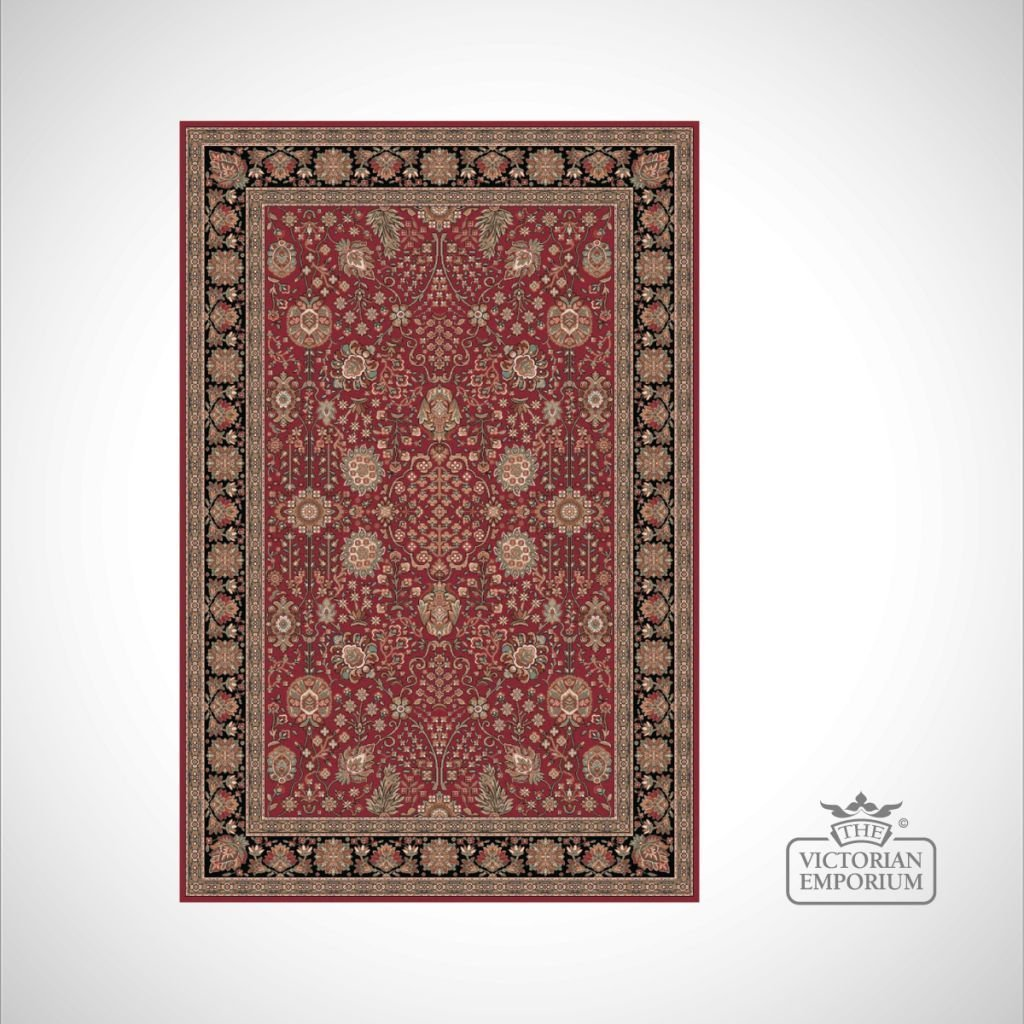 Victorian Rug Style Fa5687 Red Black Rugs