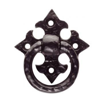 Ring pull handle on gothic cross pattern backplate
