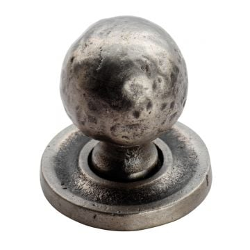 Hammered pattern ball knob on round rose